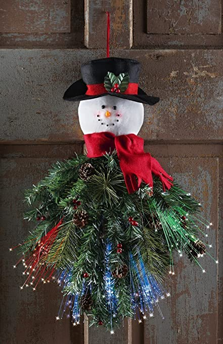 led fiber optic snowman door hanger