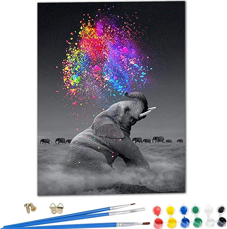 YIMAKJ Malen Nach Zahlen – DIY Handgemalt Ölgemälde Geschenk für Erwachsene Kinder Gemälde Kits Leinwanddruck Wandkunst Dekoration Home Haus Deko Elefant 40 * 50cm