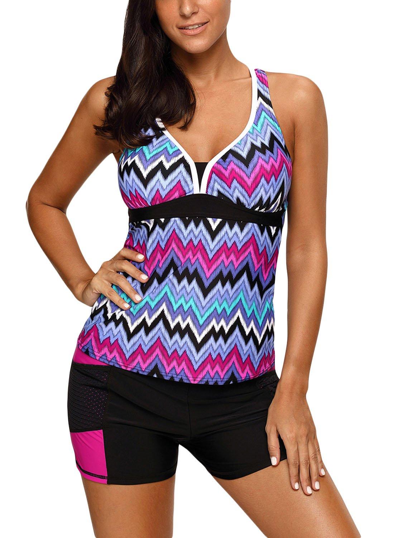 c6ebb7881d107 Galleon - HOTAPEI Women's Tankini Swimsuits Racerback Tankinis Swimwear For  Women With Boyshort Swimsuit Two Piece Bathing Suit Purple Tone Multicolor  ...