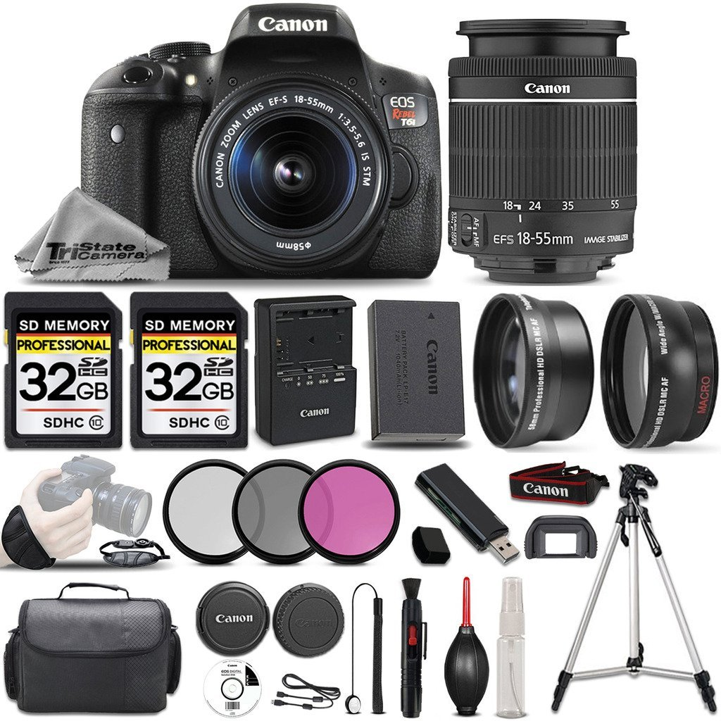 Canon EOS Rebel T6i SLR Camera + Canon EF-S 18-55mm f/3.5-5.6 IS STM Lens + 0.43X Wide Angle Lens + 2.2x Telephoto Lens + 64GB Storage - All Original Accessories Included - International Version by CANON