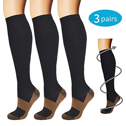 26db5fed1 SWOLF Copper Compression Socks for Nurse Men Women(3 Pairs)- Best Copper  Infused