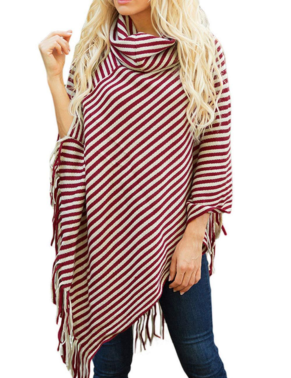 Sexyshine Women's Fall Loose Turtleneck Stripe Tassel Shawl Wrap Poncho Cape Cloak Pullover Sweater Tops,WR