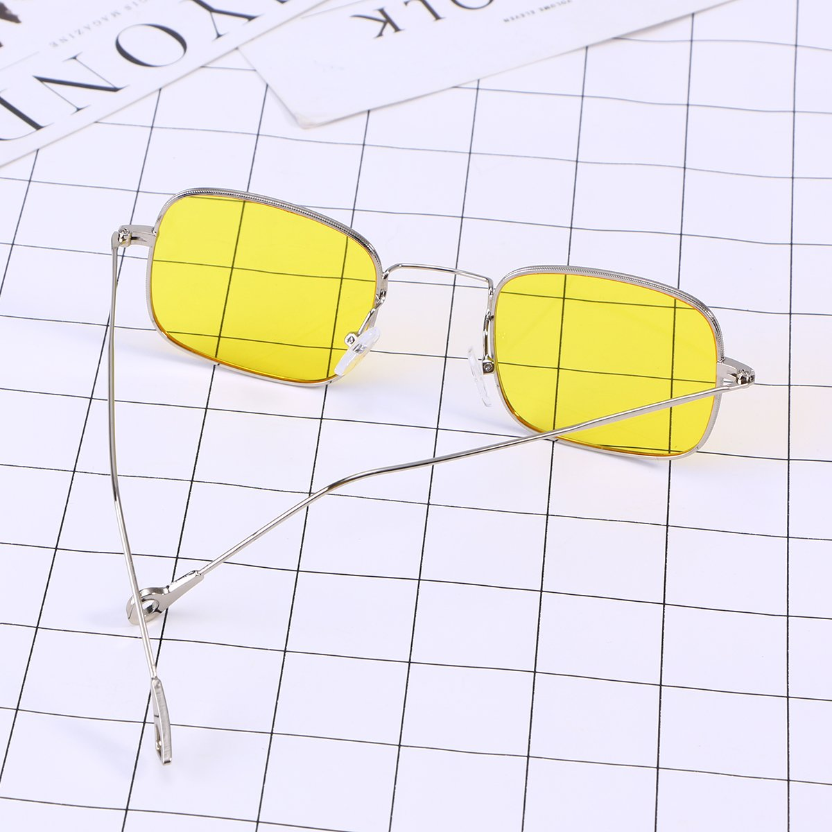 db28cf059538 OULII Vintage Stylish Sunglasses Small Square Ocean Film Eyeglasses  (Yellow): Amazon.co.uk: Clothing
