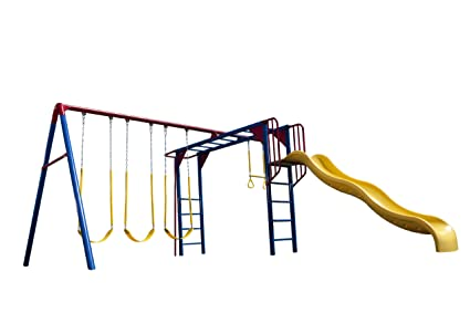 Amazon Com Lifetime Monkey Bar Adventure Swing Set Primary Colors