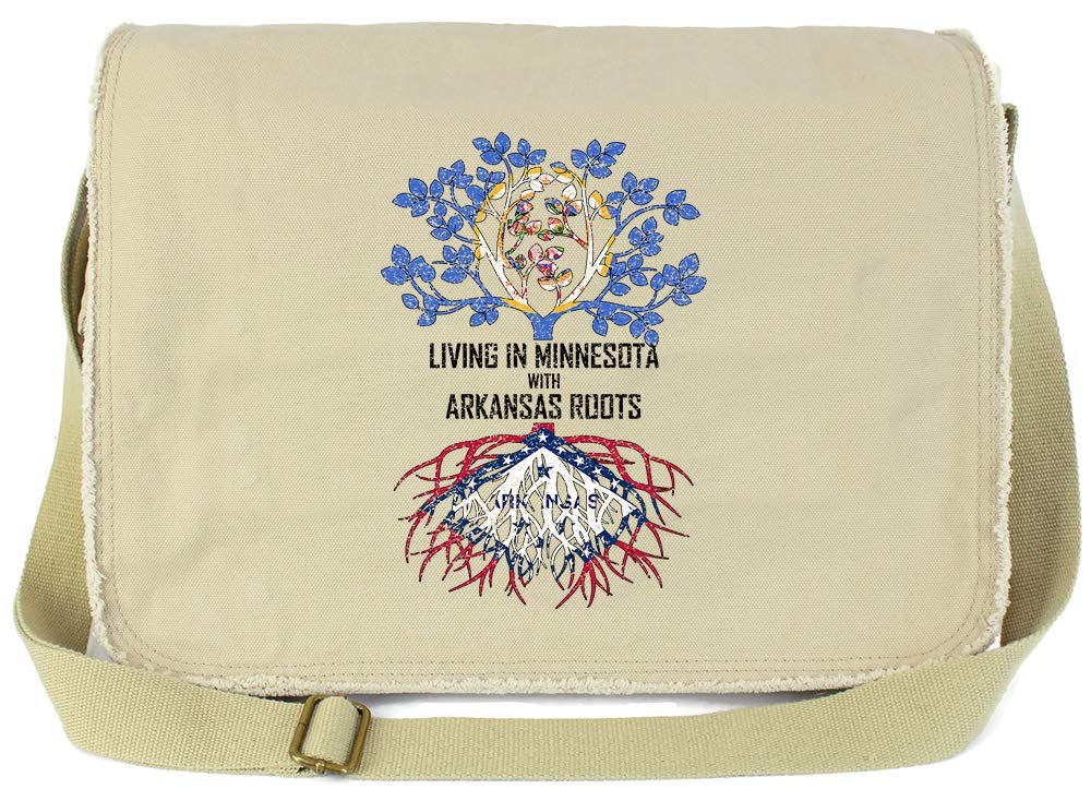 Tenacitee Living In Minnesota with Arkansas Roots Grey Brushed Canvas Messenger Bag