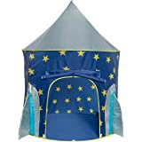 Kids Castle Play Tent , Folds In To A Carrying Case Conveniently , Foldable Pop Up Blue Children Play Tent House Toy For Indoor Outdoor Use , Star Spaceship