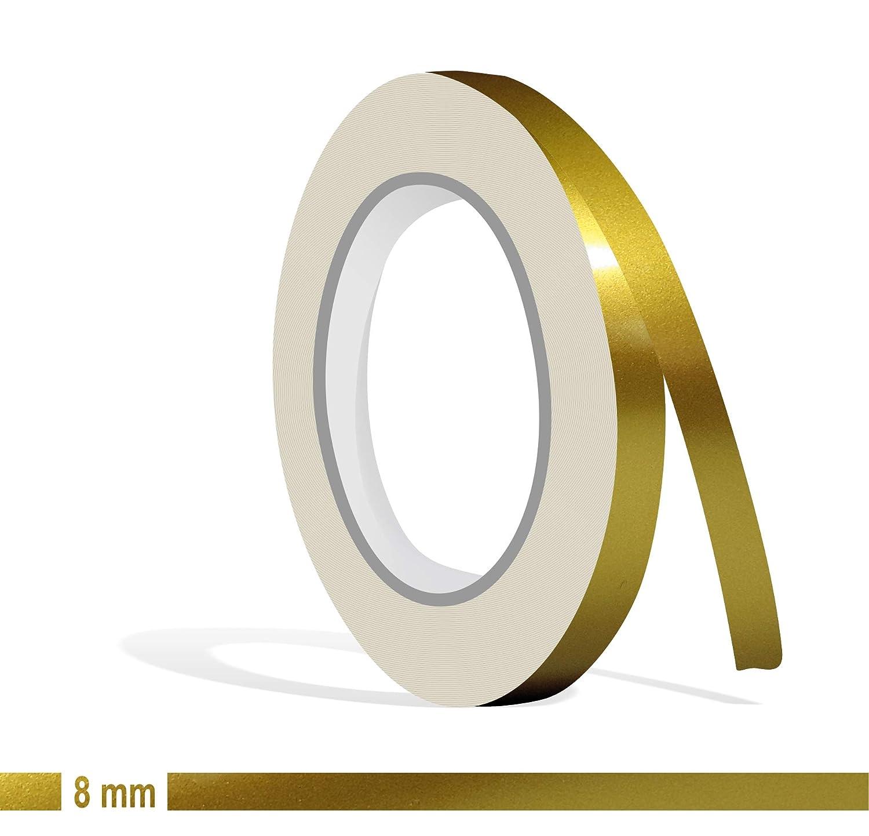 Siviwonder Zierstreifen Gold metallic Glanz in in 8 mm Breite und 10 m L/änge f/ür Auto Boot Jetski Modellbau Klebeband Dekorstreifen