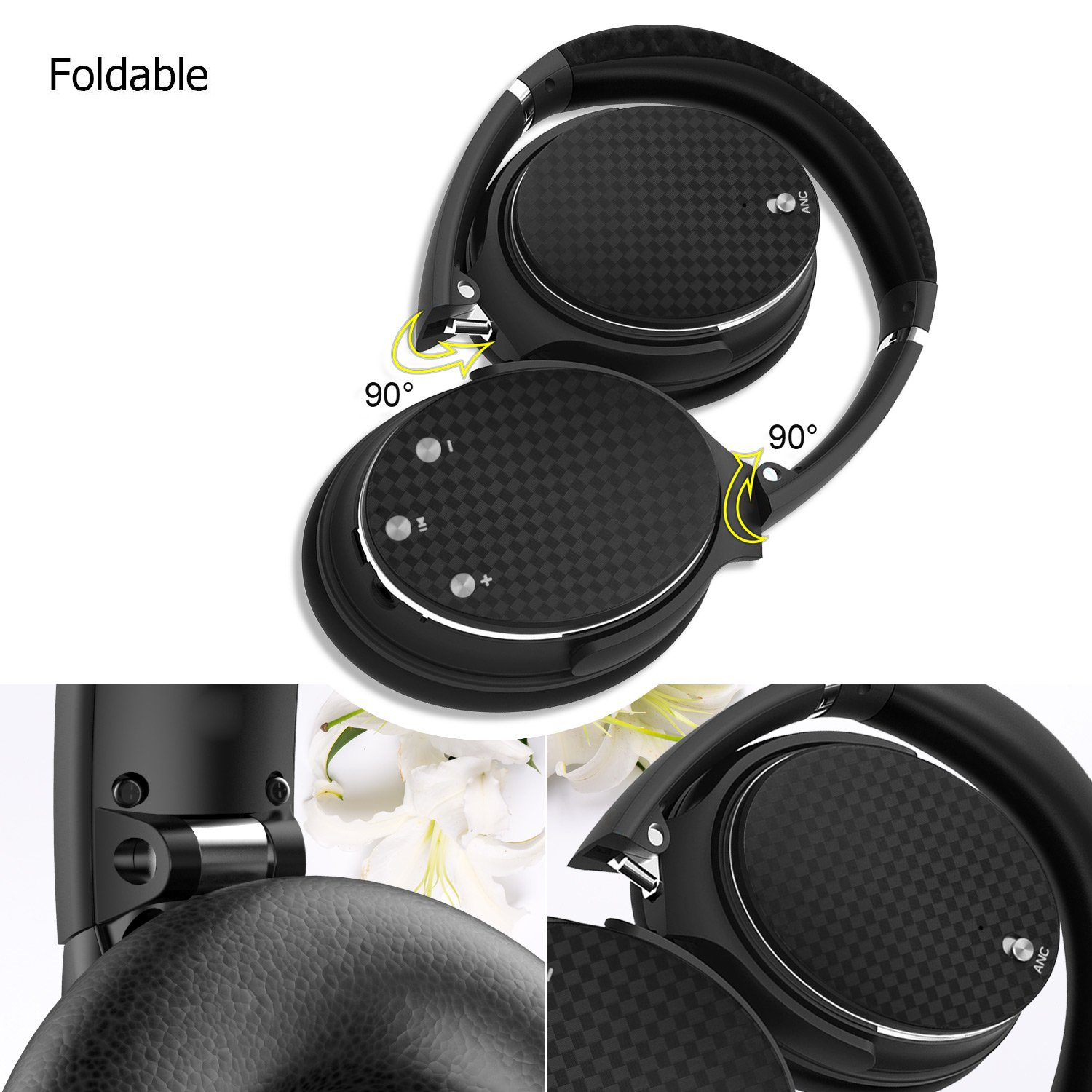 Active Noise Cancelling Headphones,Barsone Hi-Fi Bluetooth Wireless Super Bass Headphones Over Ear, Bluetooth Noise Canceling Headsets,USB Rechargeable Handsfree headphone with Mic