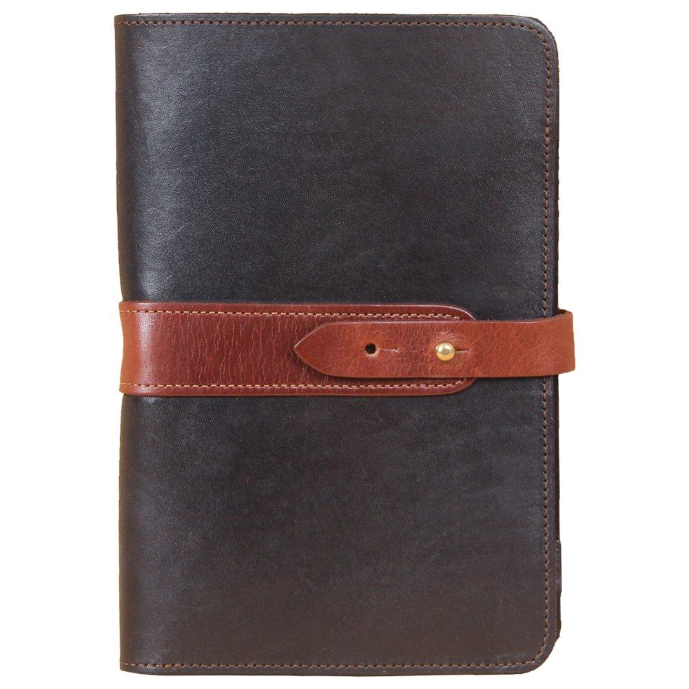 Travel Leather Portfolio Folio Notebook Business Folder Small Black Brown Full-Grain USA Made No. 20
