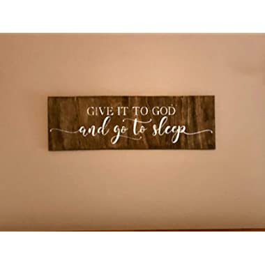Emily Give It to God and Go to Sleep Sign Above Bed Pallet Sign Inspirational Decor Religious Signs Prayer Sign Wood Sign Plaque Home Wall Art Decoration Sign Gift