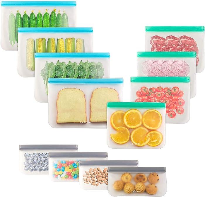 LeMuna 12 Pack Reusable Silicone Food Storage Bags (4 Gallon Freezer Bags, 4 Reusable Sandwich Bag, 4 Reusable Snack Bags), Food Grade Reusable Freezer Bags BPA Free, PEVA Leakproof