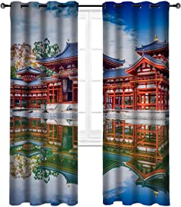 DYNZONE Cortinas orientales por Temple View. Juego de 2 Cortinas para Ventana, 213 x 213 cm: Amazon.es: Hogar