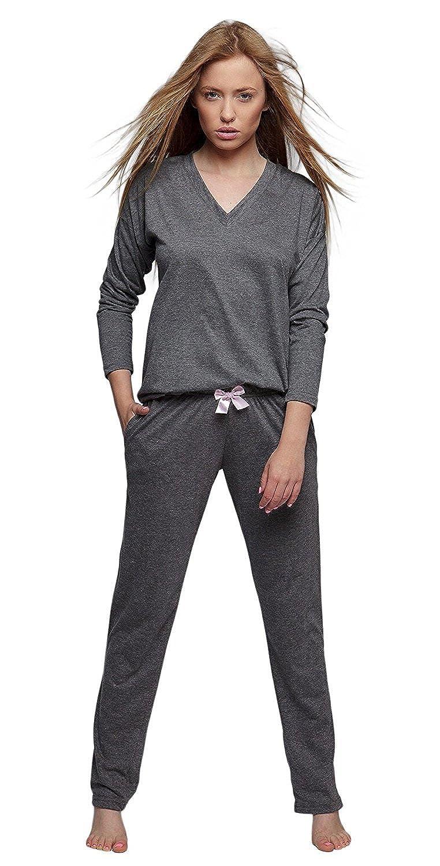 3b026359b2 SENSIS stillvoller Baumwoll-Pyjama Schlafanzug Hausanzug aus feinem T-Schirt  und bequemer Hose, made in EU: Amazon.de: Bekleidung