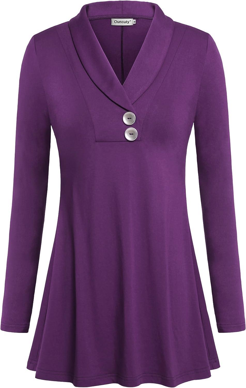Ouncuty Women Fall Long Sleeve Tops Shawl Neck Button Down Dressy Blouses Shirts