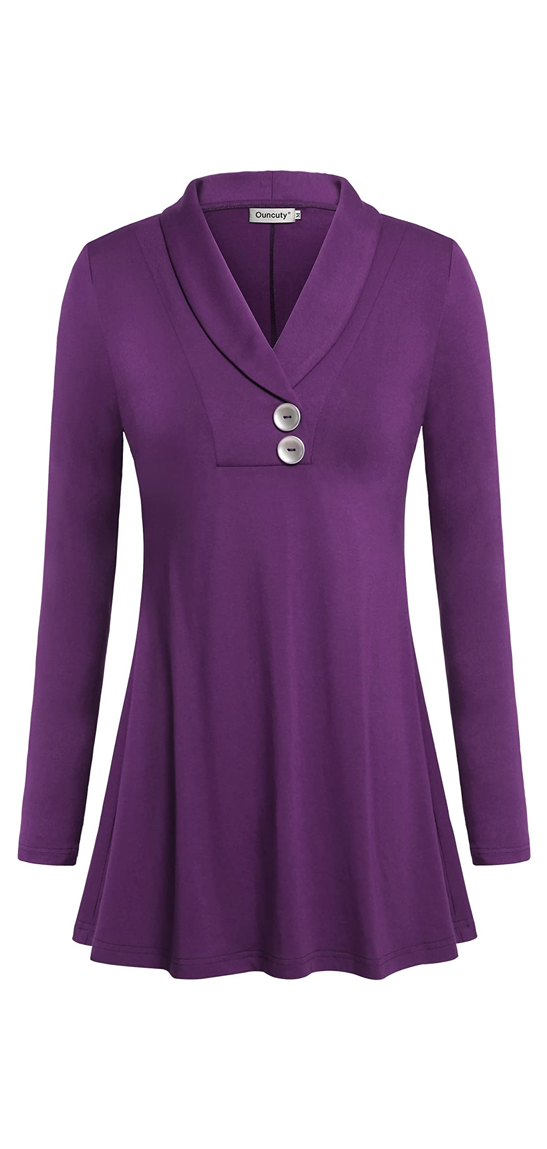 Women Fall Long Sleeve Tops Shawl Neck Button Down