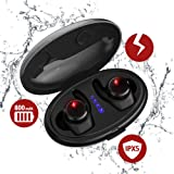 True Wireless Earbuds with Qi-Enabled Wireless Charging Case, Ti-Thor Bluetooth Headphones for Sports, Mini V4.2 Wireless Headsets with Mic, IPX6 Waterproof Long Lasting Earbuds for Samsung iPhone