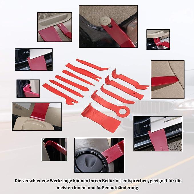 Yikaich Demontage Werkzeug Auto 19 Stücke Zierleistenkeile Türverkleidungs Innenverkleidung Lösewerkzeug Befestigung Clips Entriegelungswerkzeug Starke Nylon Mit Aufbewahrungstasche Auto