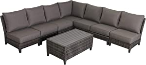 Envelor Barbados 7-Piece Sectional Set Outdoor Patio Furniture Rattan Wicker Frame with Grey Olefin Cushions