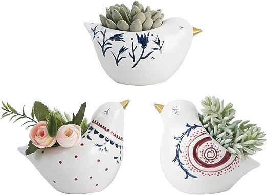 Set of 3 Ceramic Birds Succulent Planter Pots