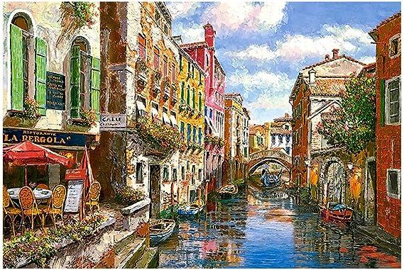 Puzzles Serie de la Pintura al óleo - Venecia romántica - de Madera Colorido Rompecabezas 300/500/1000 Piezas for Adultos de los niños Niños Juguetes del Regalo del Arte (Size : 1000pcs): Amazon.es: Hogar