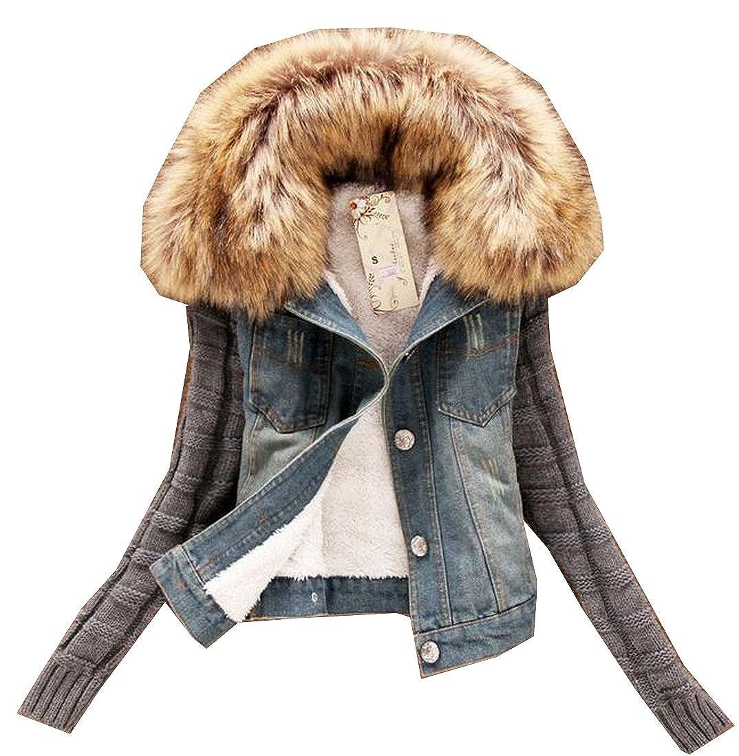 EKU Women's Splicing Denim Slim Fitted Fashion Tops Suit Jacket M