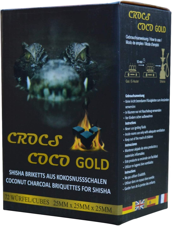 Cross Coco Gold I carbón para shisha I carbón de coco con larga duración I pocas cenizas I baja generación de humo I carbón natural sostenible I Cubo de shisha con calidad premium I 1 kg