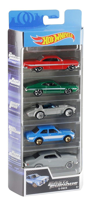 Hot Wheels 3 a/ños Mattel GGH46 Fast and Furious Pack de 5 coches de juguete para ni/ños