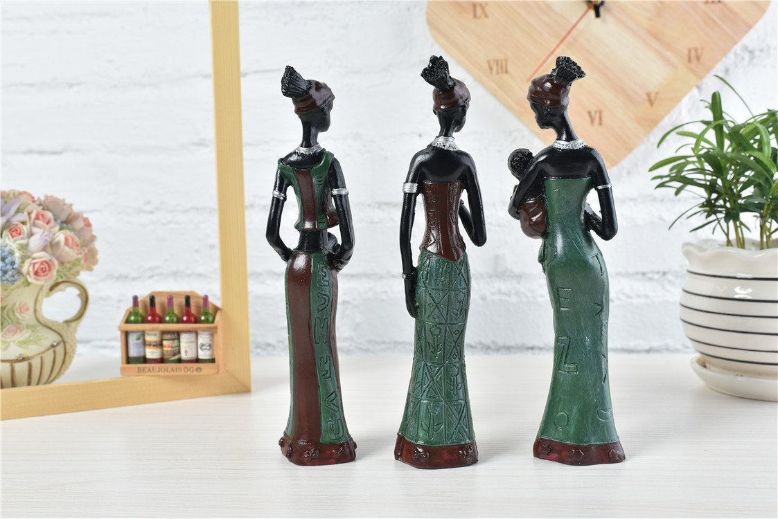 TBW African Tribal Women Collectible Figurines for Mother's Gifts,Green,Pack of 3 by TBW (Image #4)