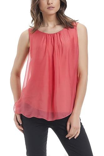 Laura Moretti – Blusa de seda sin mangas con abertura trasera y bordado