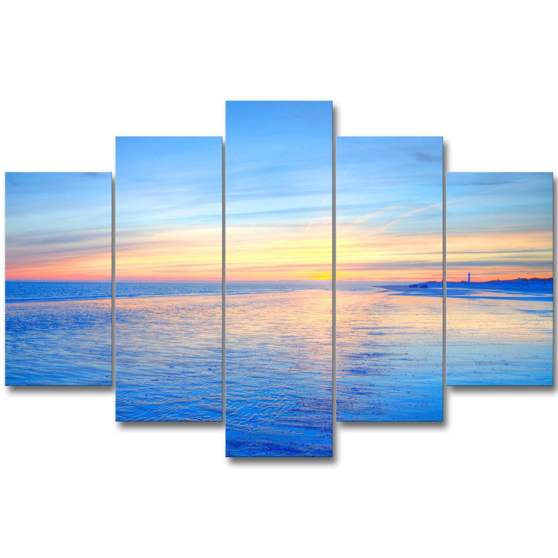 アートパネル インテリアアート ポスター アートフレーム 「青い海の上、朝焼け」 壁飾り キャンバス絵画 印刷布製 部屋飾り 新築飾り 5パネルセット(木枠付きの完成品) B078WBT7TN
