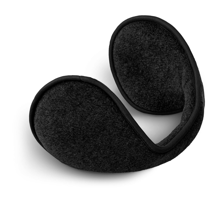 Earmuffs paraorecchie con archetto per il collo in pile, nero, Taglia unica