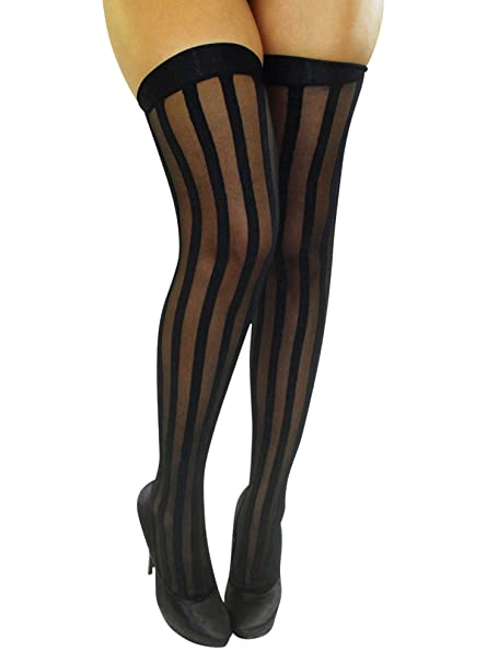 a5aa18b832e00 Vertical Striped Black Thigh High Stockings at Amazon Women's Clothing  store: Thigh Highs Hosiery