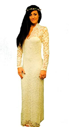 Womens Long Maxi Cream V Neck Bodycon Lace Evening Prom Wedding Dress (06)