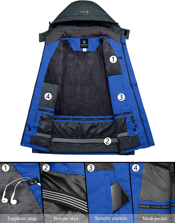 GEMYSE Homme Veste de Ski Imperm/éable Coupe-Vent Veste de Hiver Veste de Pluie encapuchonn/é Manteau de Pluie