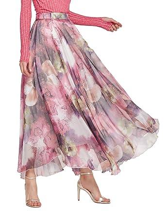 7f213a7f73 Chartou Women's Elegant Summer Full Length Boho Floral Print Pleated  Chiffon Long Maxi Skirt Dress (