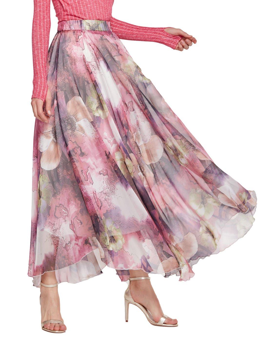 Chartou Women's Elegant Summer Full Length Boho Floral Print Pleated Chiffon Long Maxi Skirt Dress (Purple, Medium)