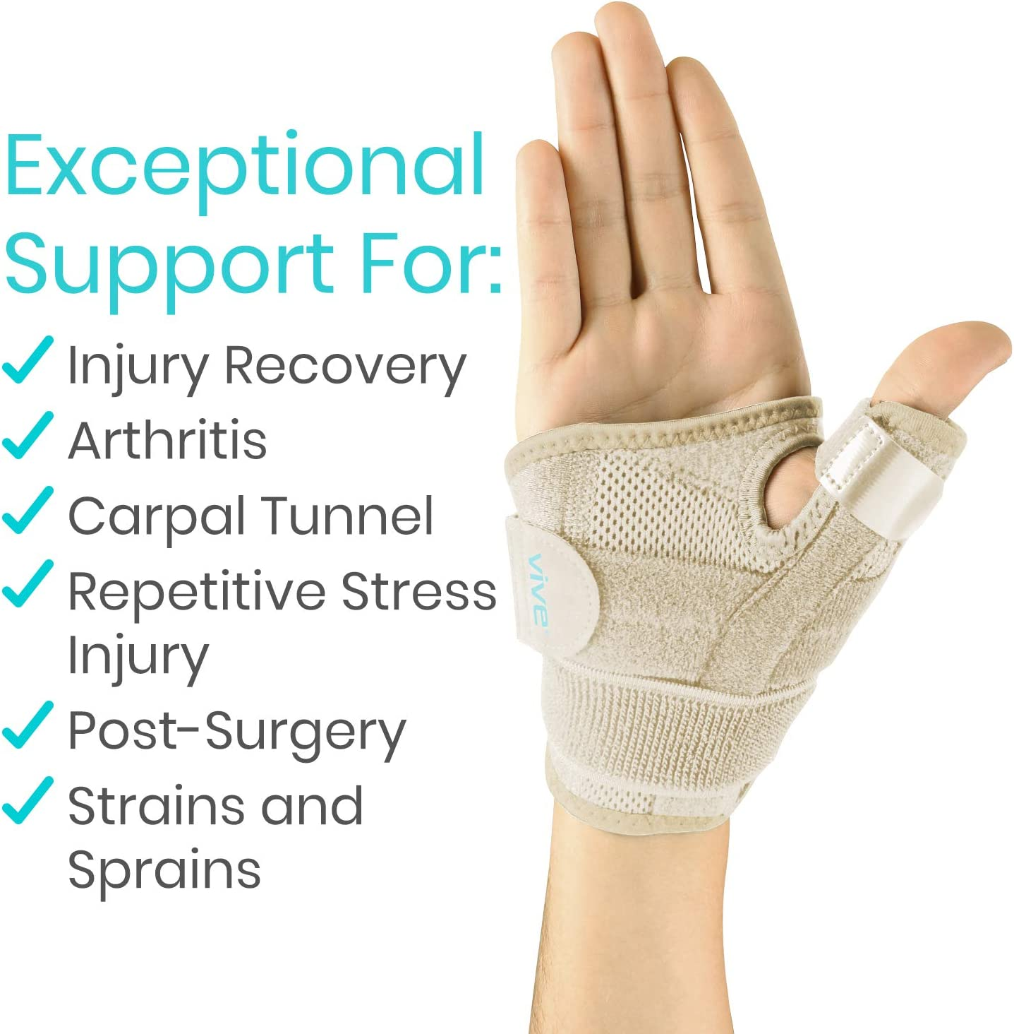 Vive Arthritis Thumb Splint - Thumb Spica Support Brace for Pain, Sprains, Strains, Arthritis, Carpal Tunnel & Trigger Thumb Immobilizer - Wrist Strap - Left or Right Hand (Beige): Health & Personal Care