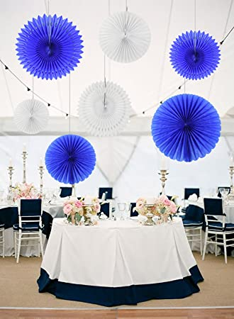 Furuix Paper Honeycomb Tissue Paper Fan Navy Blue White Paper
