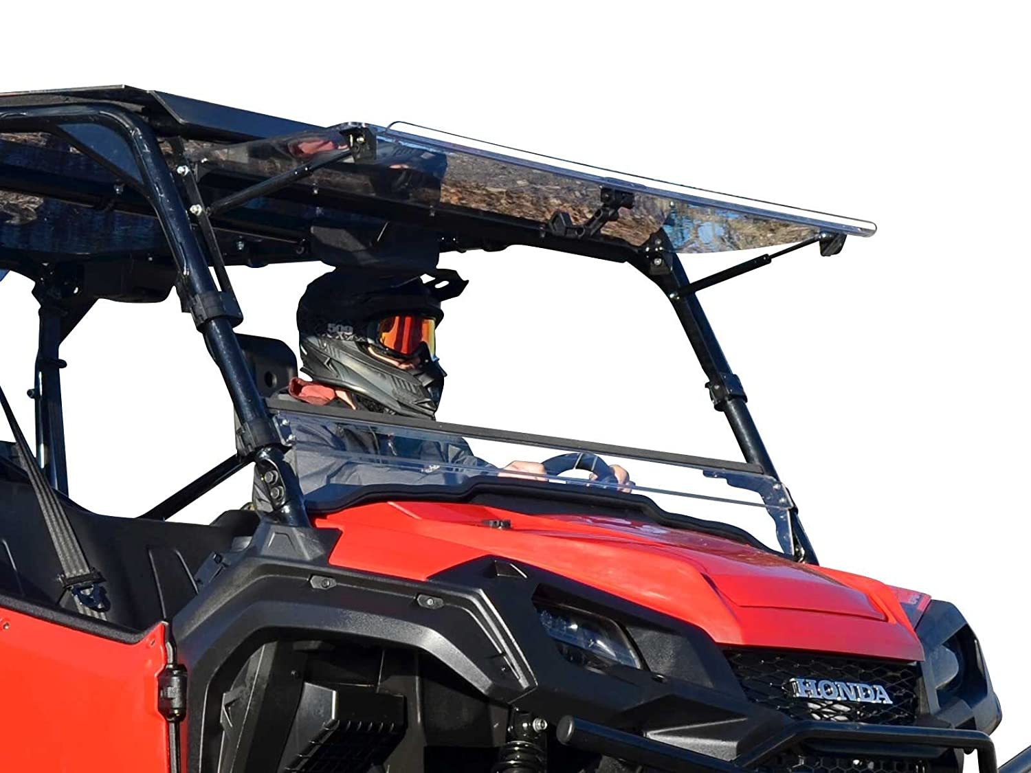 Honda Pioneer Reviews >> Superatv Scratch Resistant Clear Flip Windshield For Honda Pioneer 1000 1000 5 2016 Hard Coated For Extreme Durability Can Be Set To 3
