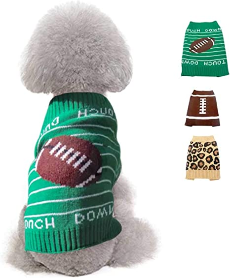 Dog Clothing Medium Breed Dog Clothes Knitted Pet Clothing- XS Small Medium Large Dog Sweater Green and Brown Medium Dog Sweater