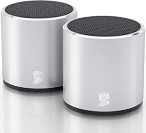 HeadSound H2 True Wireless Bluetooth Speakers, Latest Powerful Dual Twin Portable Mini Speaker Set w/Surround HD Sound, Instant Pairing with Built in Mic for HandsFree Calls for Home (Silver)