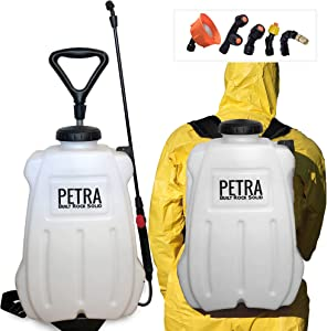 PetraTools 4-Gallon Battery Powered Sprayer, Comes with Multiple Nozzles and Multipurpose Wand, 4X Longer Battery Power, with Custom-Built Cart, HD4100-Pro