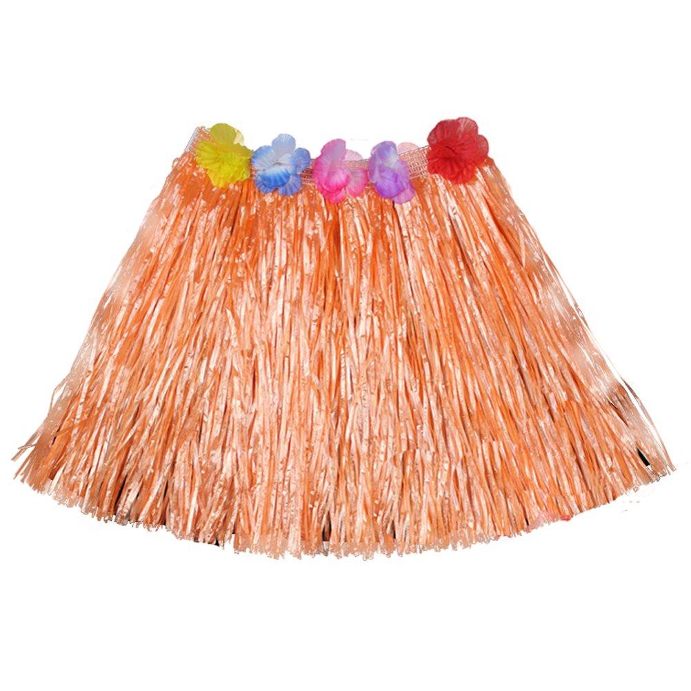 Luau Beach Party Halloween Costume Party Hawaiian Dance Hula Skirt Grass Skirt, Orange(pack of 3)