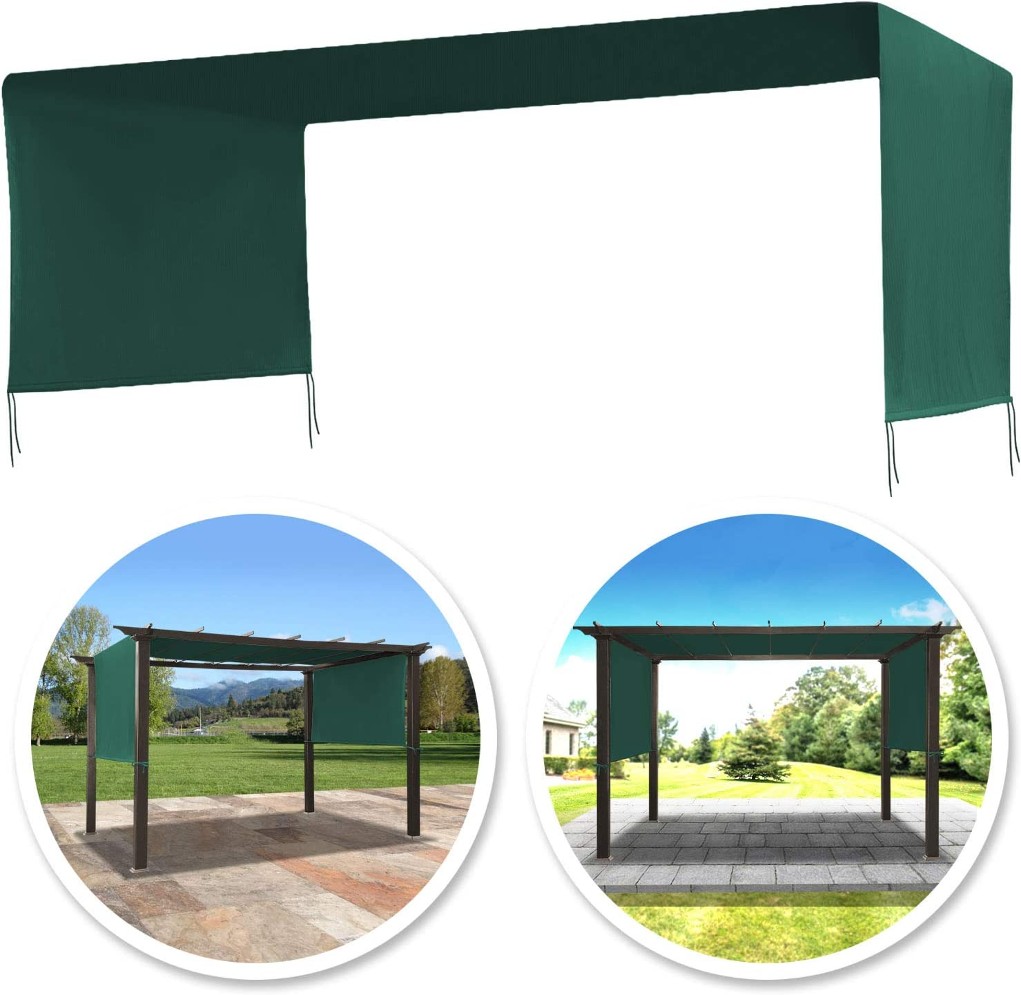 Amazon Com Benefitusa 17x 6 7 Ft Universal Replacement Canopy For Pergola Structure Outdoor Canopy Only Green Garden Outdoor