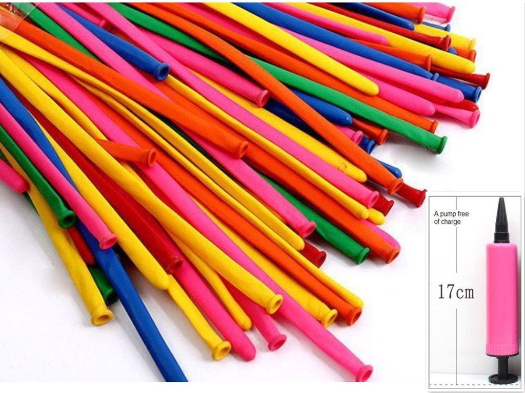 king's store,300 PCS rainbow colored balloons, strip shape balloon magic balloon animals, sent free of charge pump