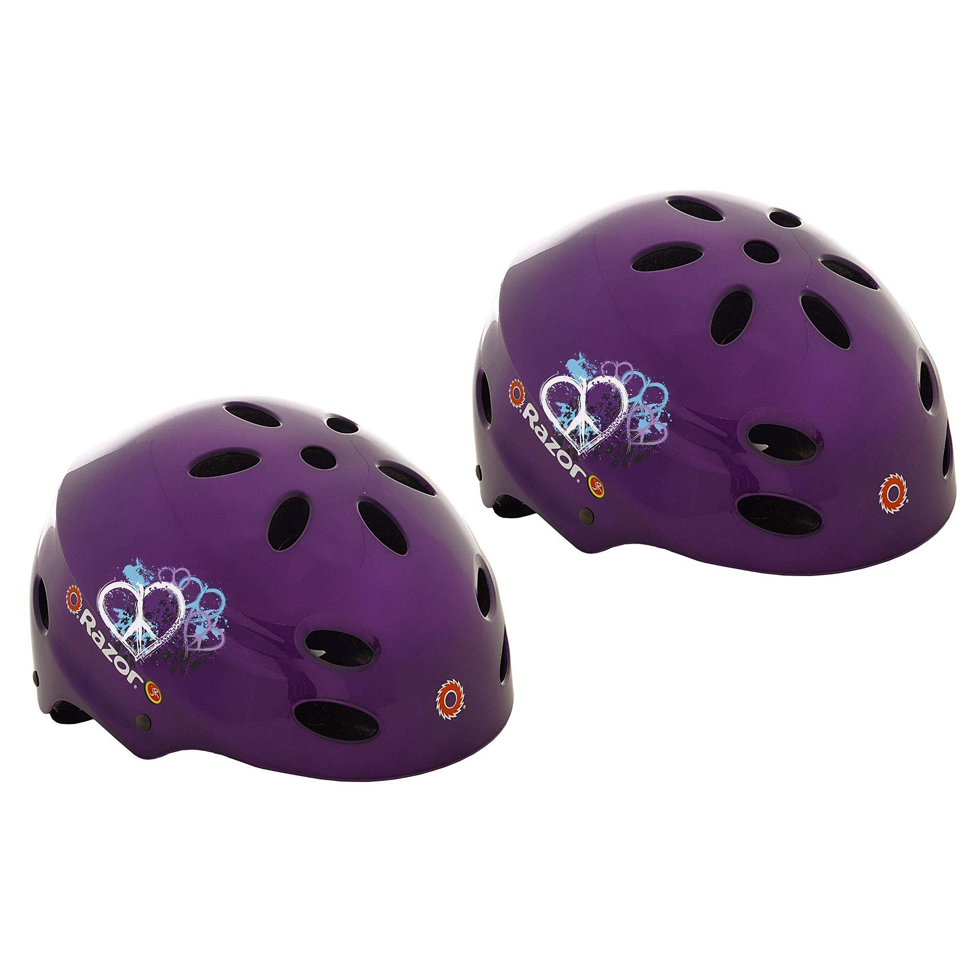 Razor V-17 Child Safety Sports Helmet for Children 5-8, Gloss Purple | 97945 (2 Pack)