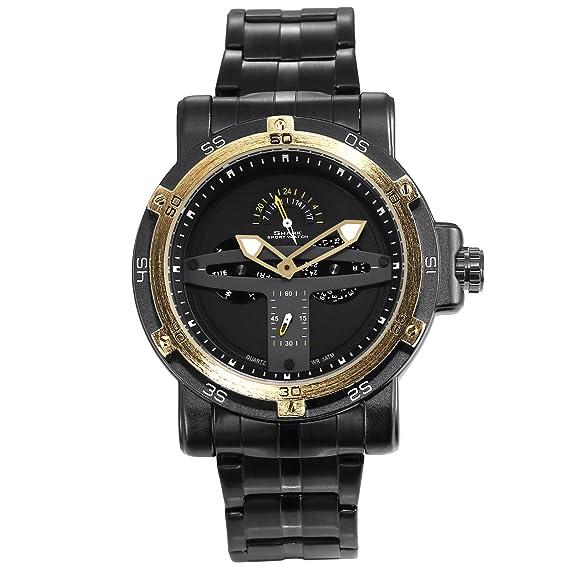 SHARK hombre deportivos Cuarzo relojes de pulseras Acero inoxidable Día Fecha 24 horas Monitor Segunda mano SH427: Amazon.es: Relojes