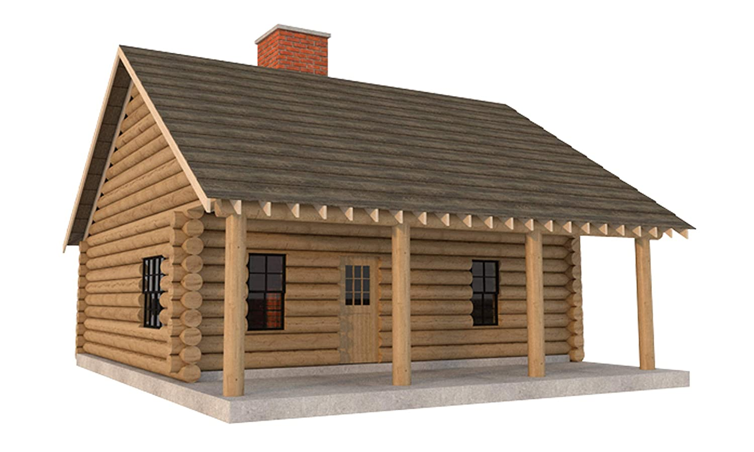 Log Cabin House Plans DIY 2 Bedroom Vacation Home 840 sq/ft Build