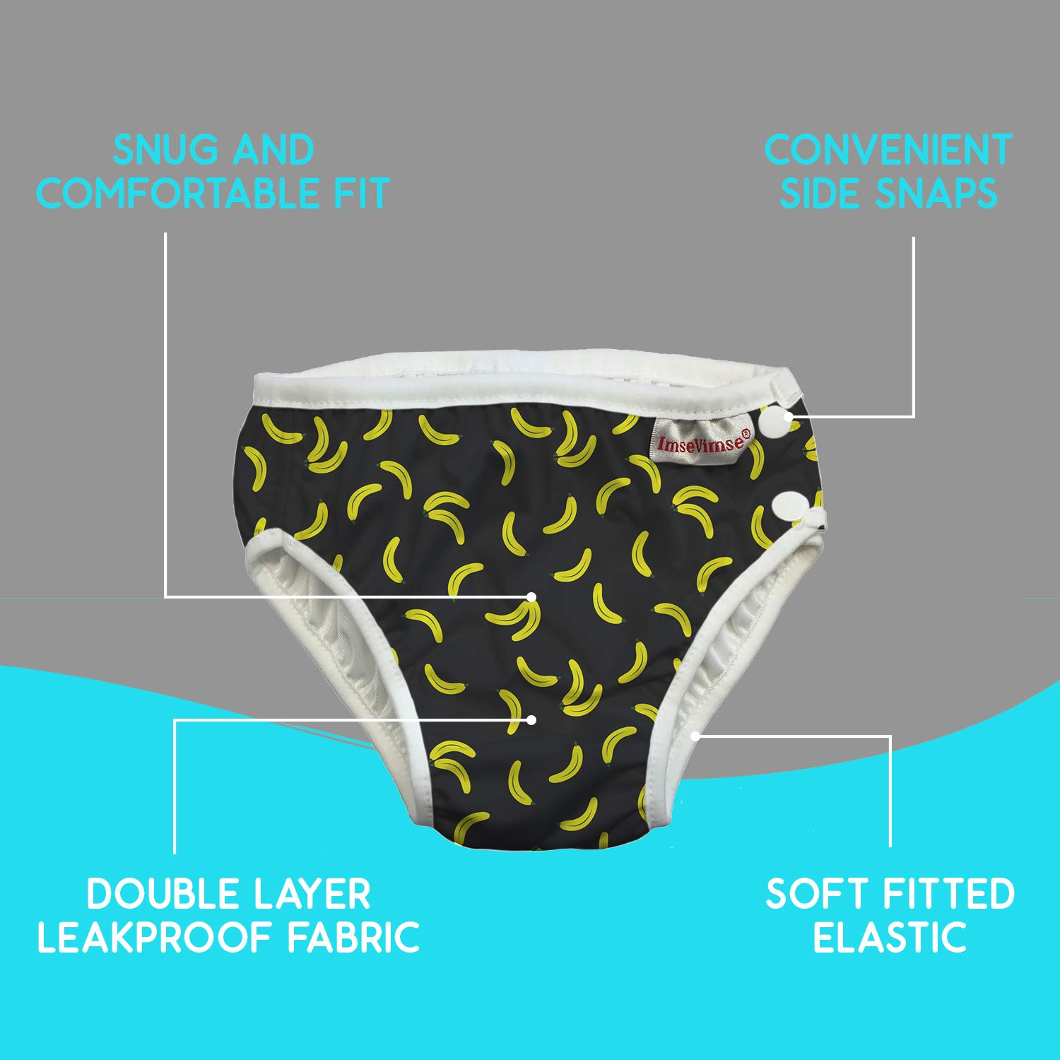 ImseVimse Eco Friendly Reusable Swim Diaper Made of Organic Cloth Sized for Infant to Toddler Boys Green Dino, NB 0-3M 9-13 lbs