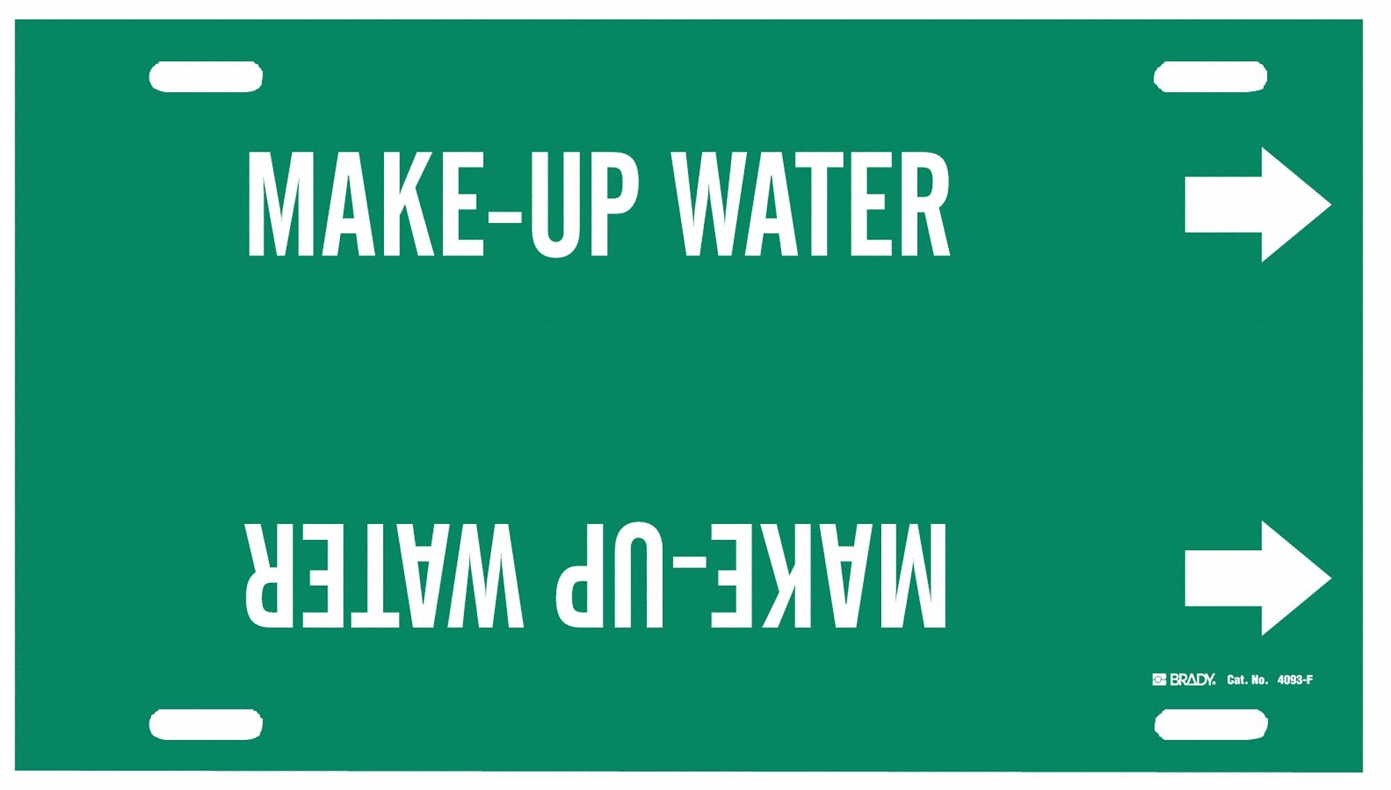 Pipe Marker,Make Up Water,Gn,6to7-7/8 In